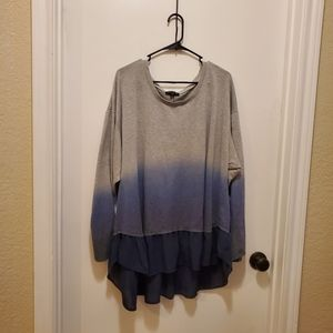 Layered Gray and Blue Ombre Long Sleeve Top